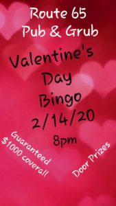 Valentine's Day Bingo at Route 65